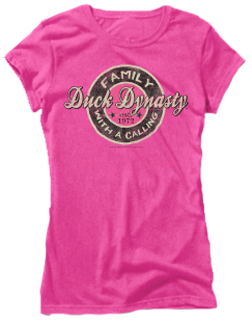 Ladies Duck Dynasty S/s Fitted Tshirt Family Call Pink Small