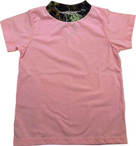 Short Sleeve Tshirt Pink W/mossy Oak Trim Size S (6-8)