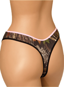Thong Breakup Camo W/pink Trim Large