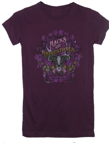 Racks & Rhinestones Tshirt Egg Plant Purple Large