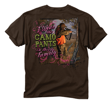 Camo Pants In The Family Chocolate Tshirt Adult Small