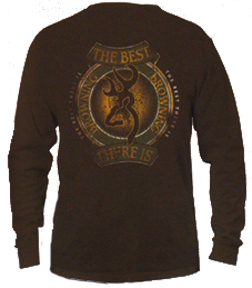 Mens Browning Long Sleeve Tshirt Chocolate Xlarge