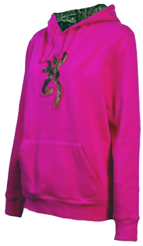Girls Youth Buckmark Camo Sweat Shirt Fuchsia Small