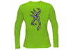 Womens Zebra Buckmark Long Sleeve Tshirt Lime Medium