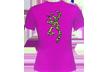 Womens Leopard Buckmark S/s Fitted Tshirt Fushia Small