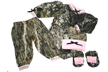 Girls Easy On L/s Set Mossy Oak W/pink Trim Hat, Booties Nb