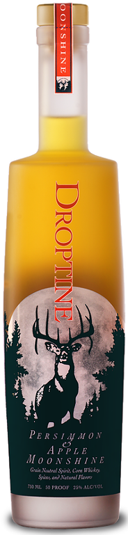 Droptine Spirits moonshine bottle - persimmon and apple